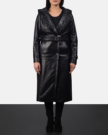 Women's Fixon Hooded Black Trench Coat 1