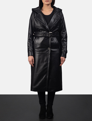Women's Fixon Hooded Black Trench Coat
