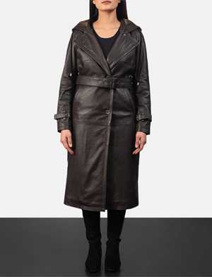 Women's Fixon Hooded Brown Trench Coat