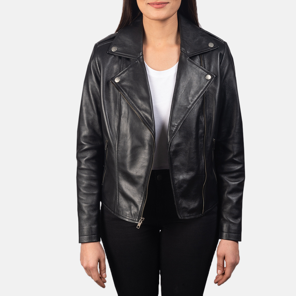 Women's Flashback Black Leather Biker Jacket 3