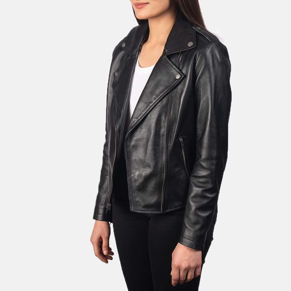 Women's Flashback Black Leather Biker Jacket 2