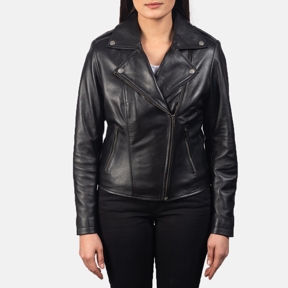 Women's Flashback Black Leather Biker Jacket 4