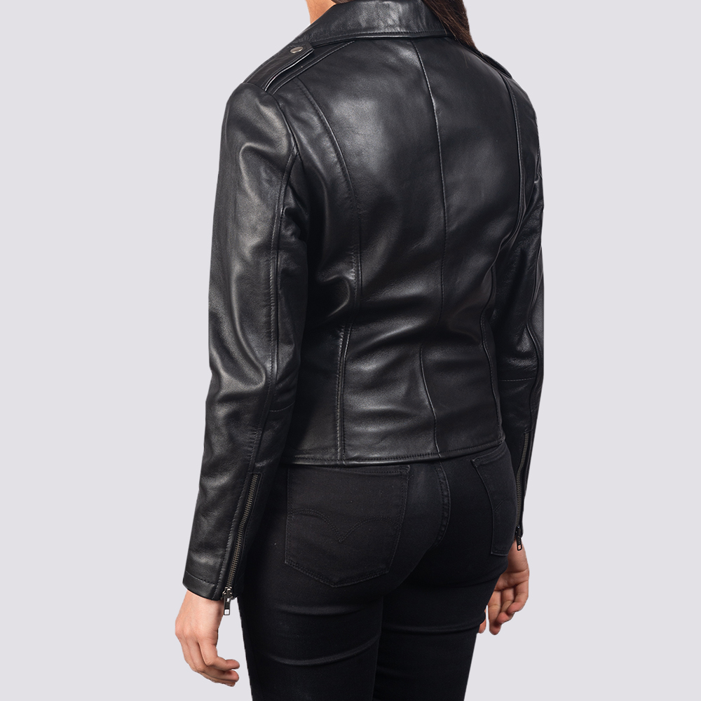 Women's Flashback Black Leather Biker Jacket 5