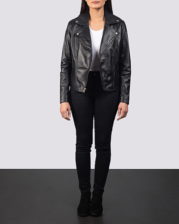 Women's Flashback Black Leather Biker Jacket 1
