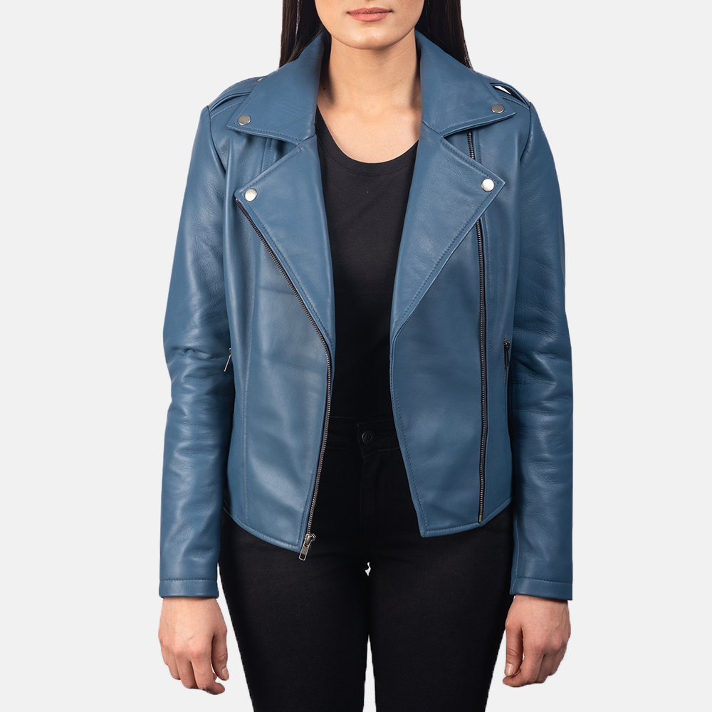 Women's Flashback Blue Leather Biker Jacket 3