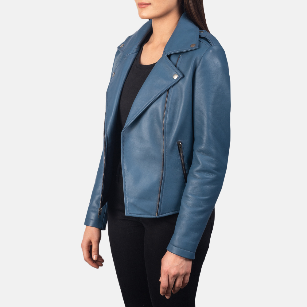 Women's Flashback Blue Leather Biker Jacket 2