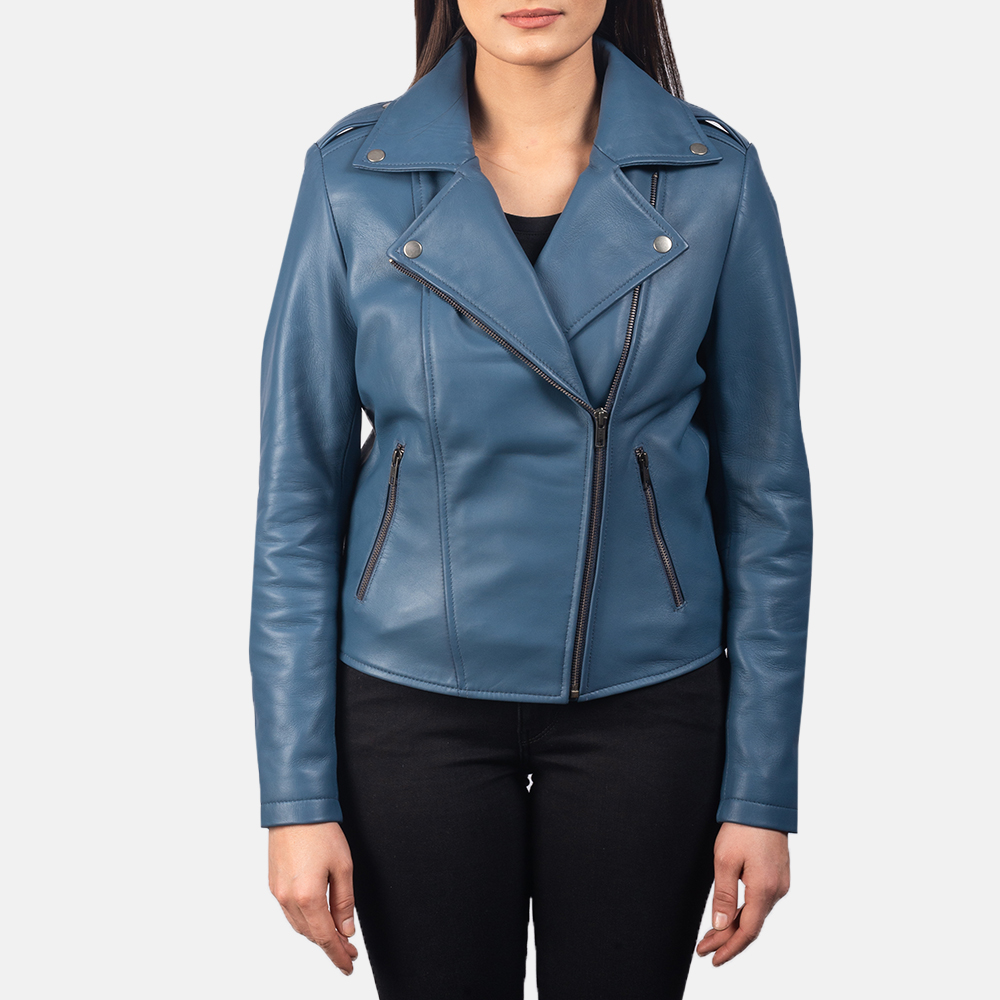 Women's Flashback Blue Leather Biker Jacket 4