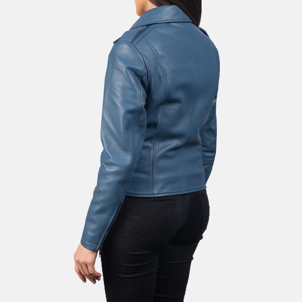 Women's Flashback Blue Leather Biker Jacket 5