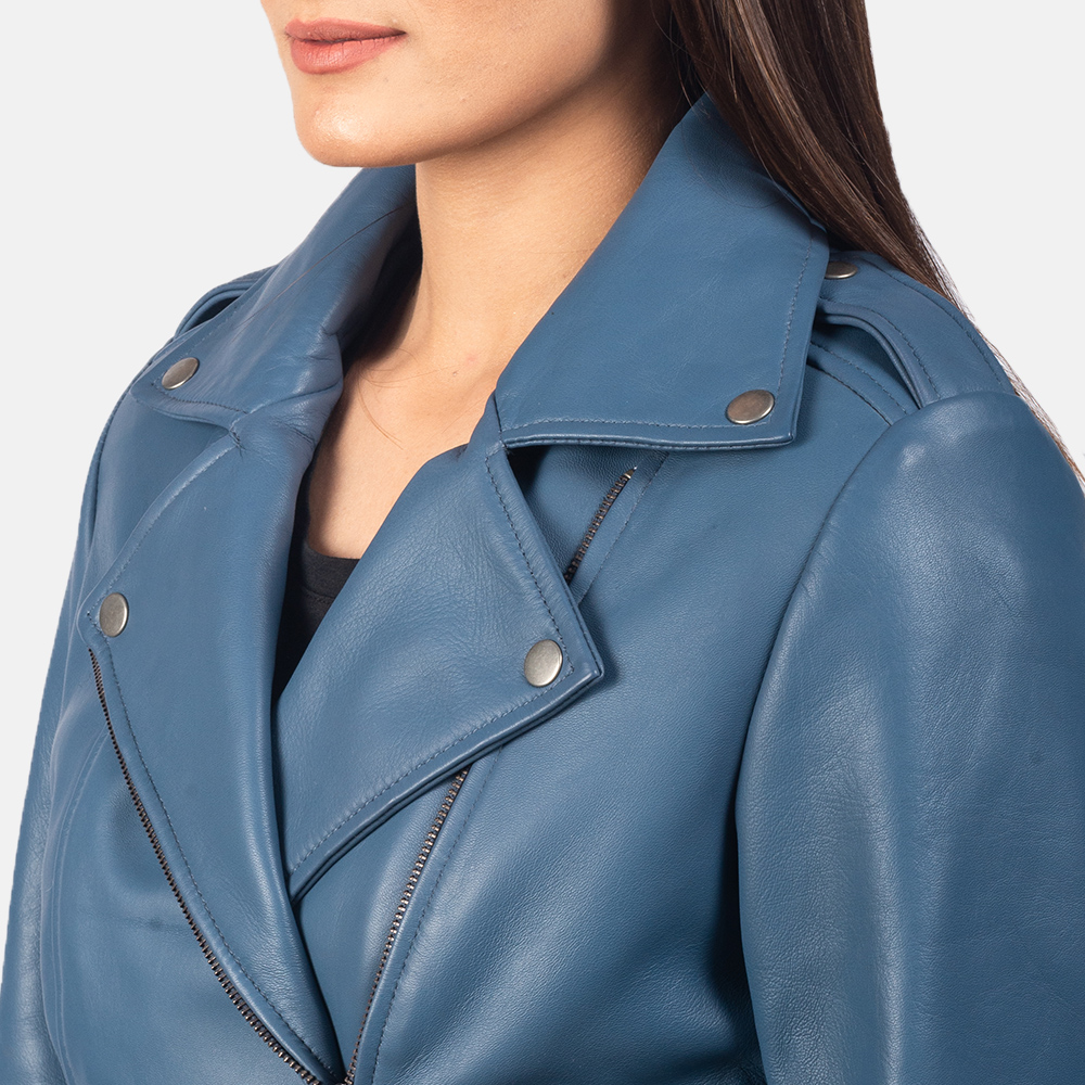 Women's Flashback Blue Leather Biker Jacket 6