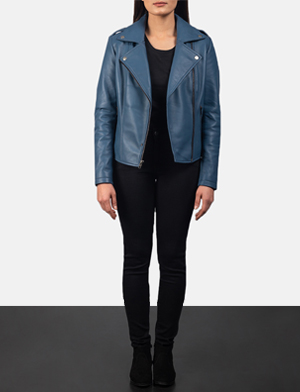 Women's Flashback Blue Leather Biker Jacket