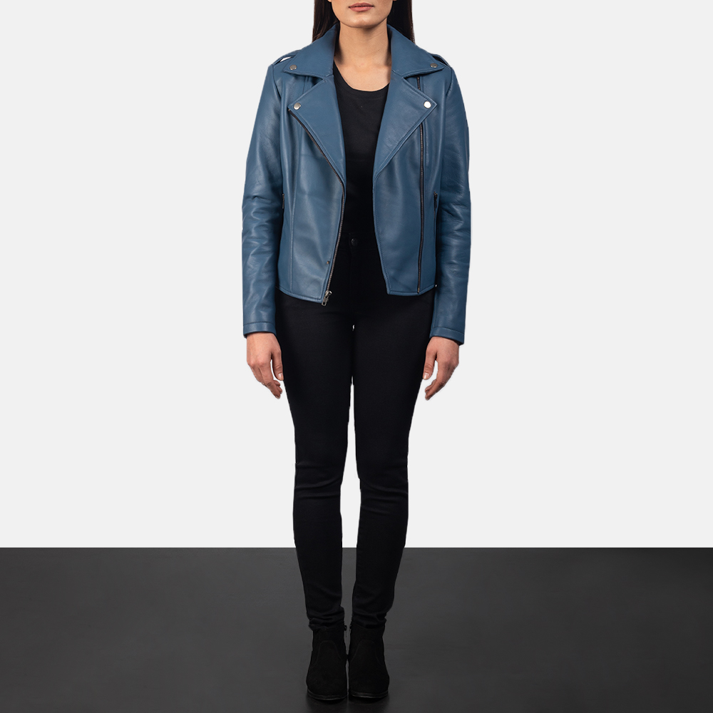 Women's Flashback Blue Leather Biker Jacket 1