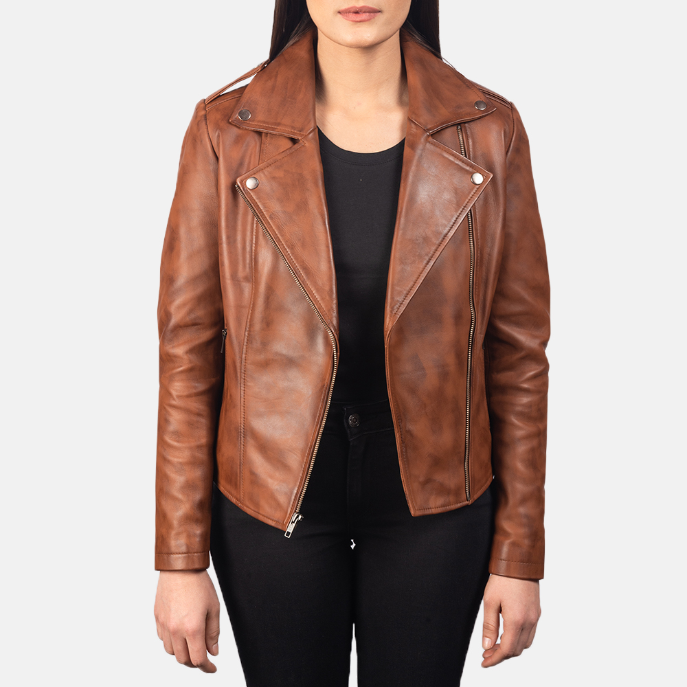 Women's Flashback Brown Leather Biker Jacket 3