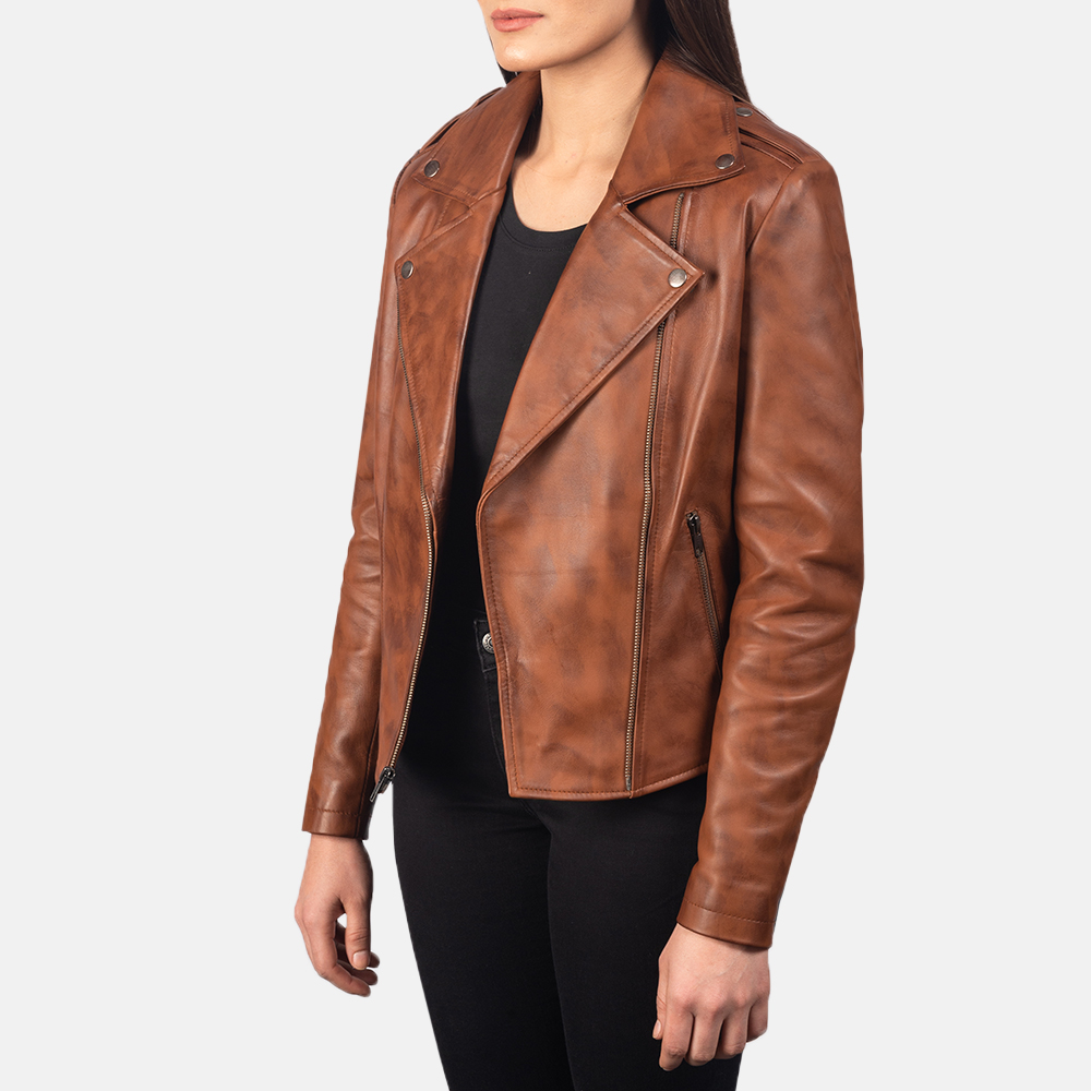 Women's Flashback Brown Leather Biker Jacket 2