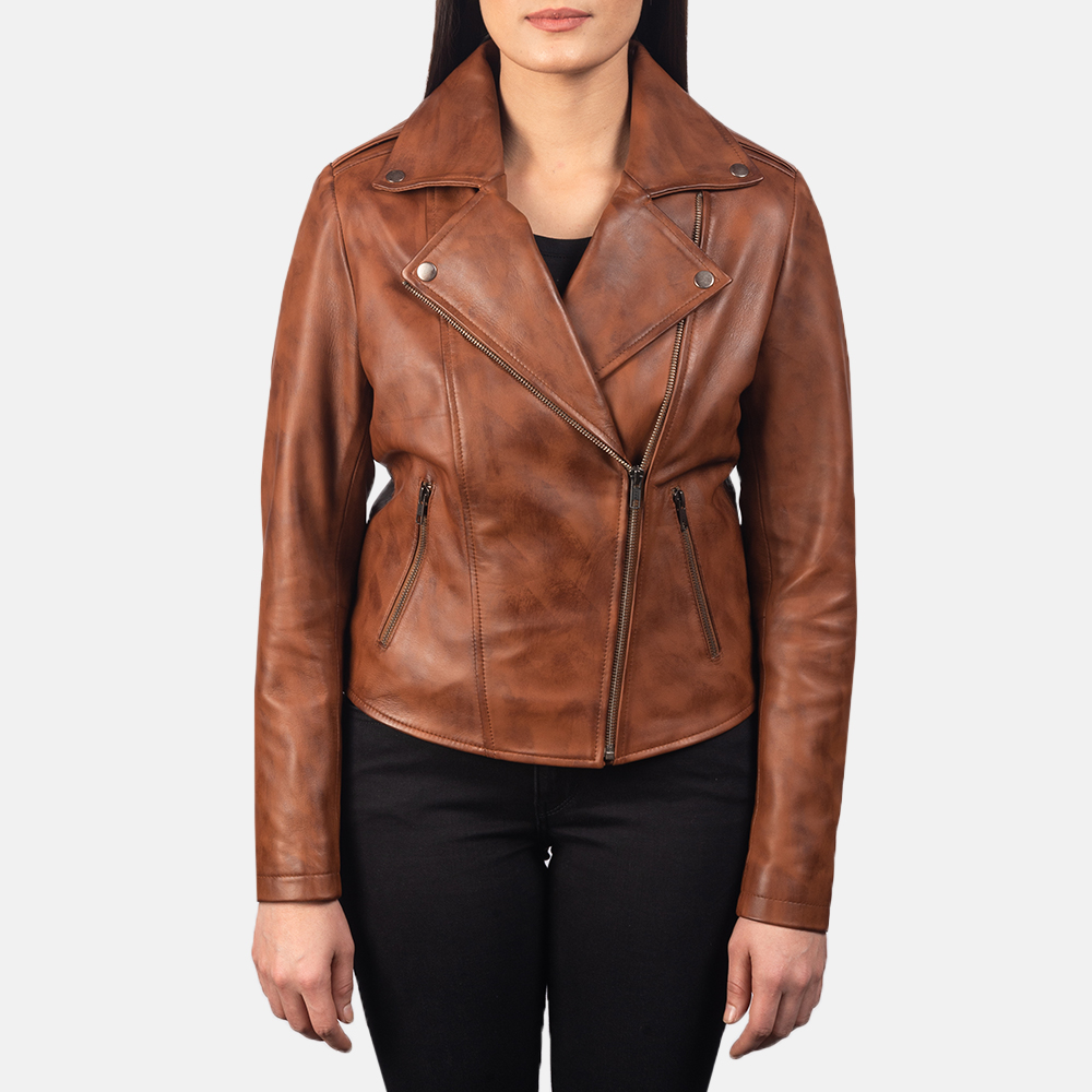 Women's Flashback Brown Leather Biker Jacket 4