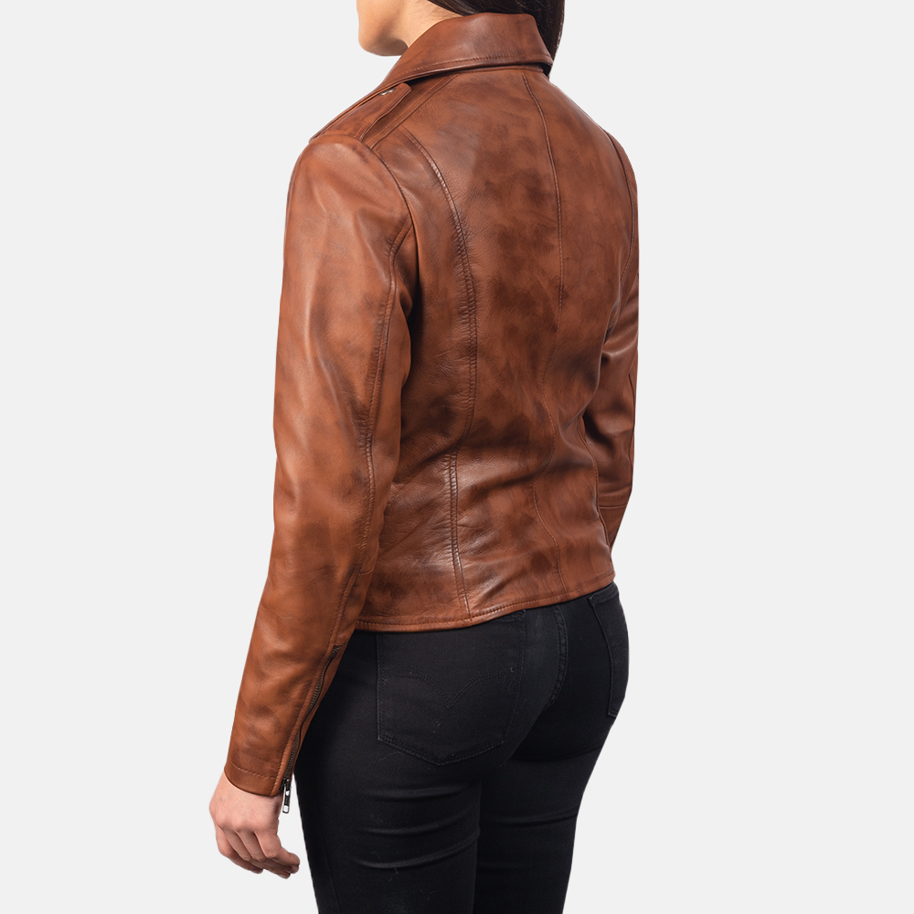 Women's Flashback Brown Leather Biker Jacket 5