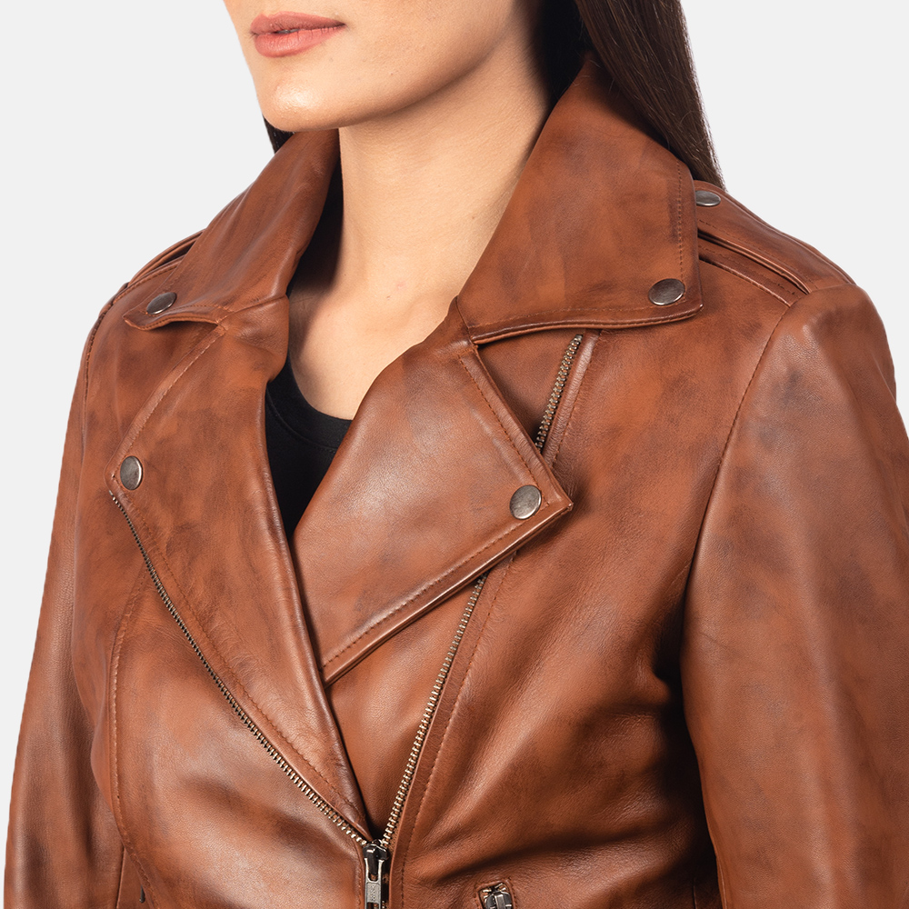 Women's Flashback Brown Leather Biker Jacket 6