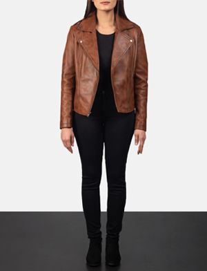 Women's Flashback Brown Leather Biker Jacket