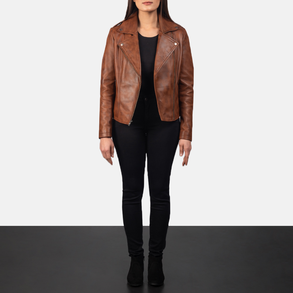 Women's Flashback Brown Leather Biker Jacket 1