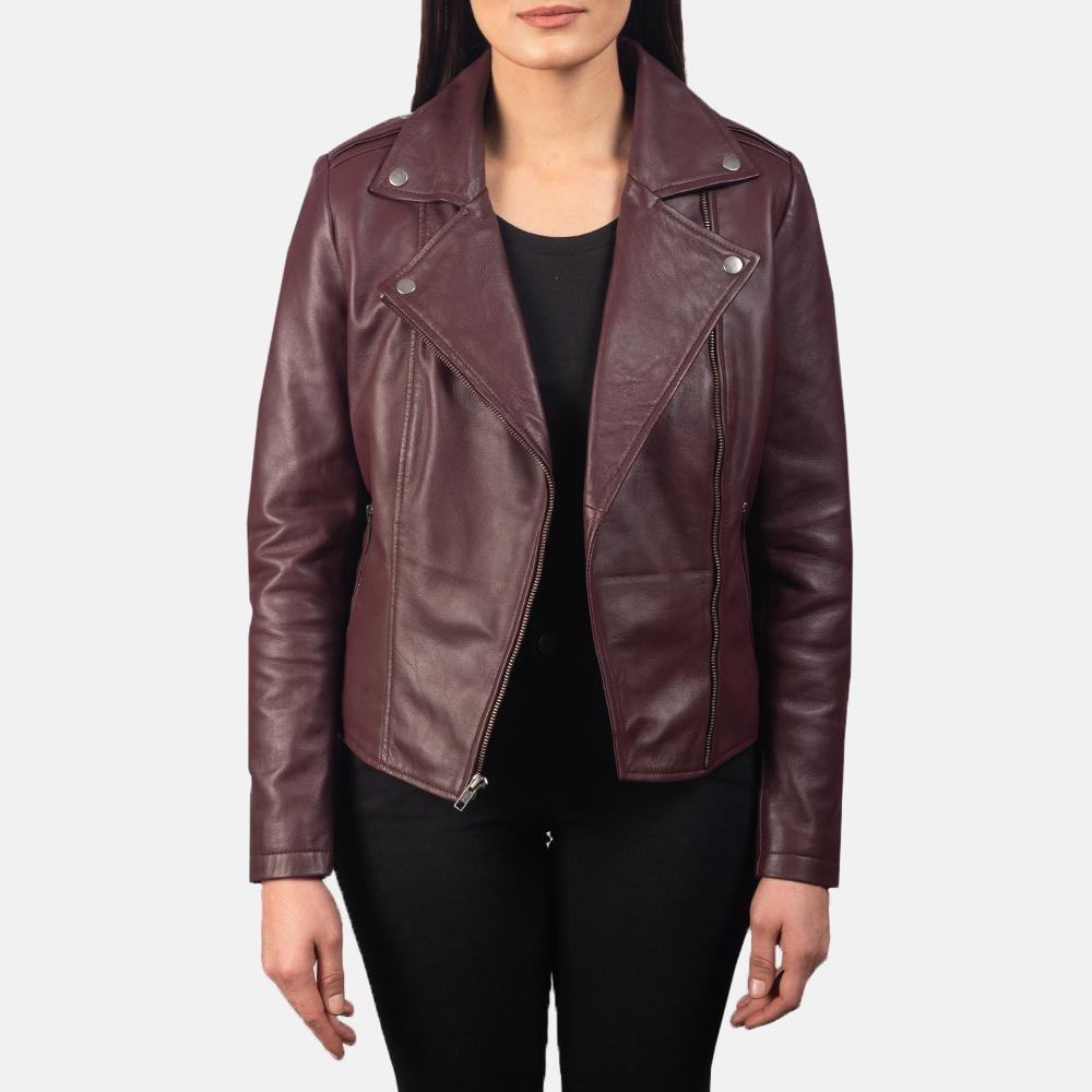 Women's Flashback Maroon Leather Biker Jacket 3