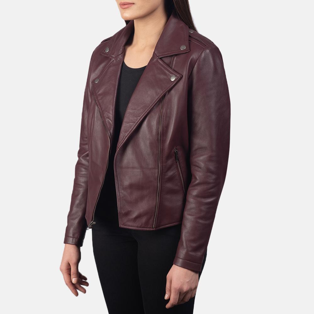 Women's Flashback Maroon Leather Biker Jacket 2