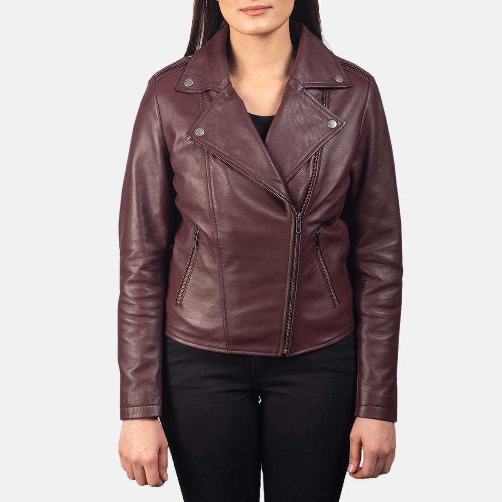 Women's Flashback Maroon Leather Biker Jacket 4