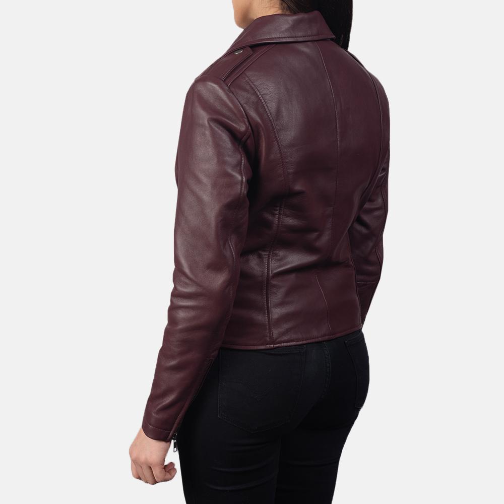 Women's Flashback Maroon Leather Biker Jacket 5