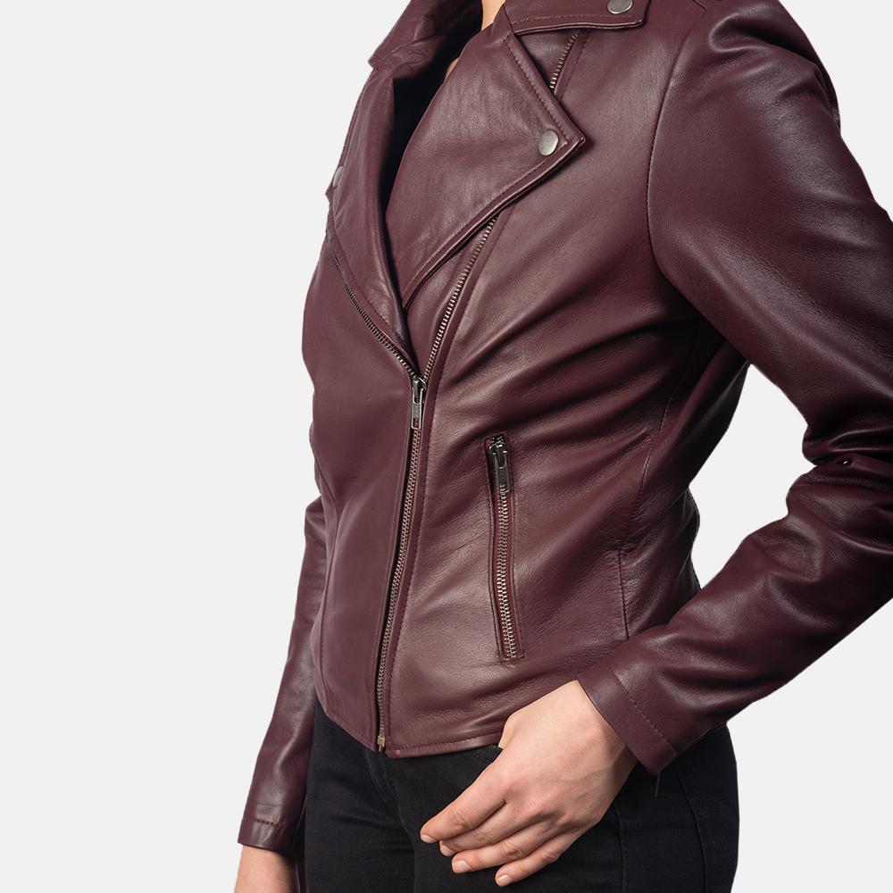 Women's Flashback Maroon Leather Biker Jacket 6