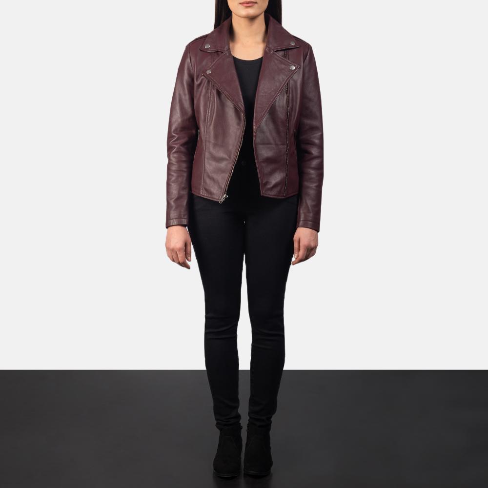 Women's Flashback Maroon Leather Biker Jacket 1