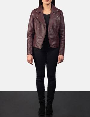 Women's Flashback Maroon Leather Biker Jacket