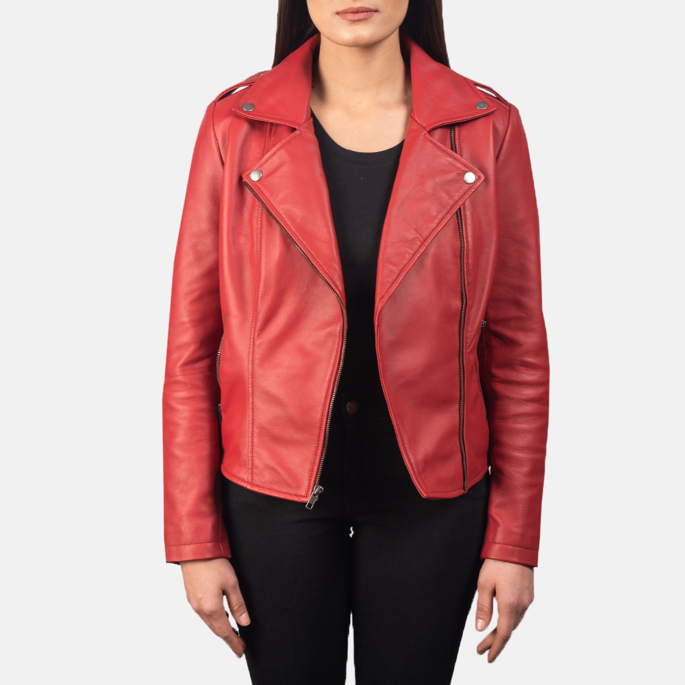 Women's Flashback Red Leather Biker Jacket 3