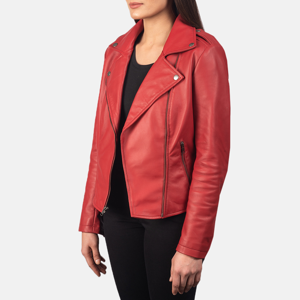 Women's Flashback Red Leather Biker Jacket 2