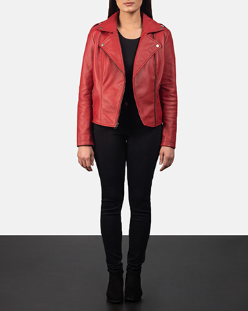 Women's Flashback Red Leather Biker Jacket 1