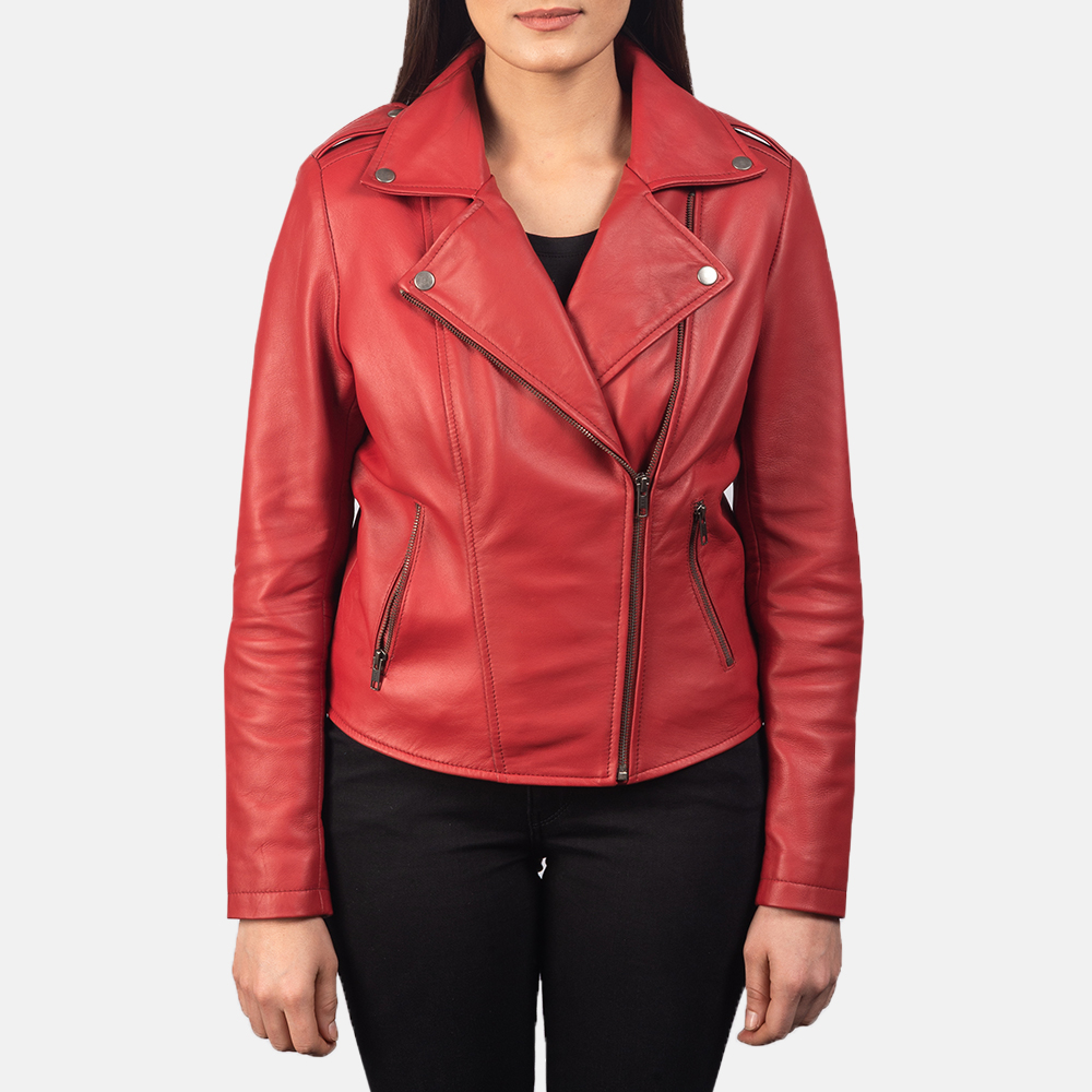 Women's Flashback Red Leather Biker Jacket 4