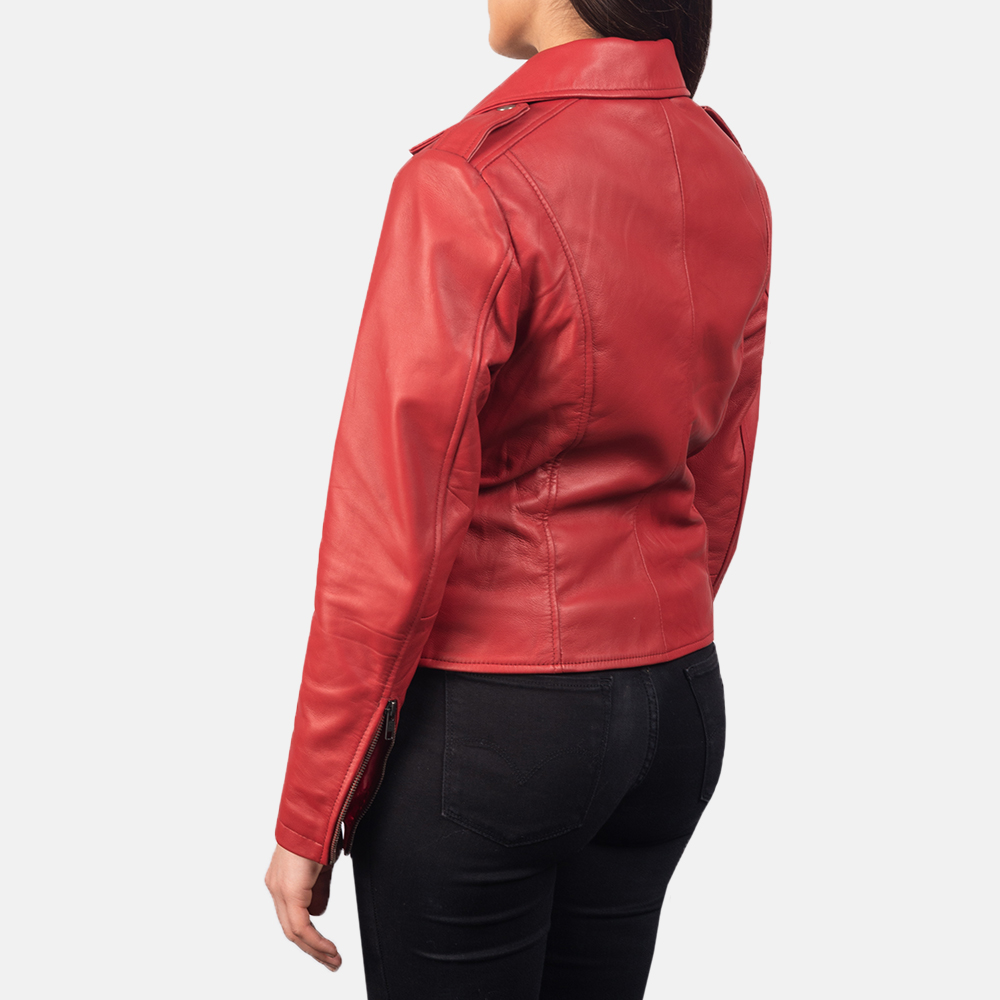 Women's Flashback Red Leather Biker Jacket 5
