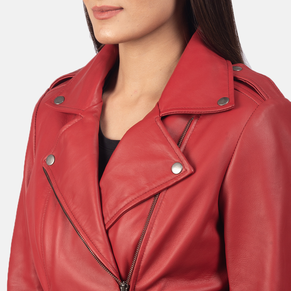 Women's Flashback Red Leather Biker Jacket 6