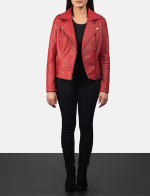 Women's Flashback Red Leather Biker Jacket