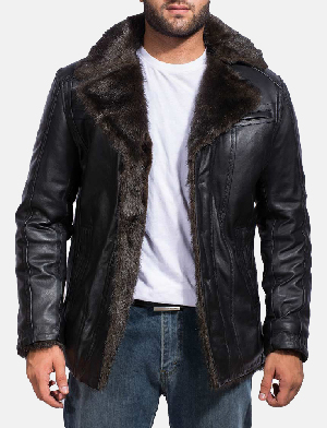 ab58ca53c5db Furcliff Black Leather Coat.  350.00. Five Stars. Mens Rocky Brown Fur ...