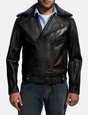 Furton Black Fur Biker Jacket