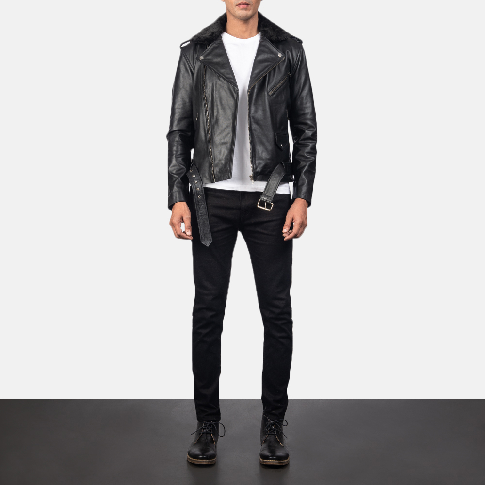 Men's Furton Black Leather Biker Jacket