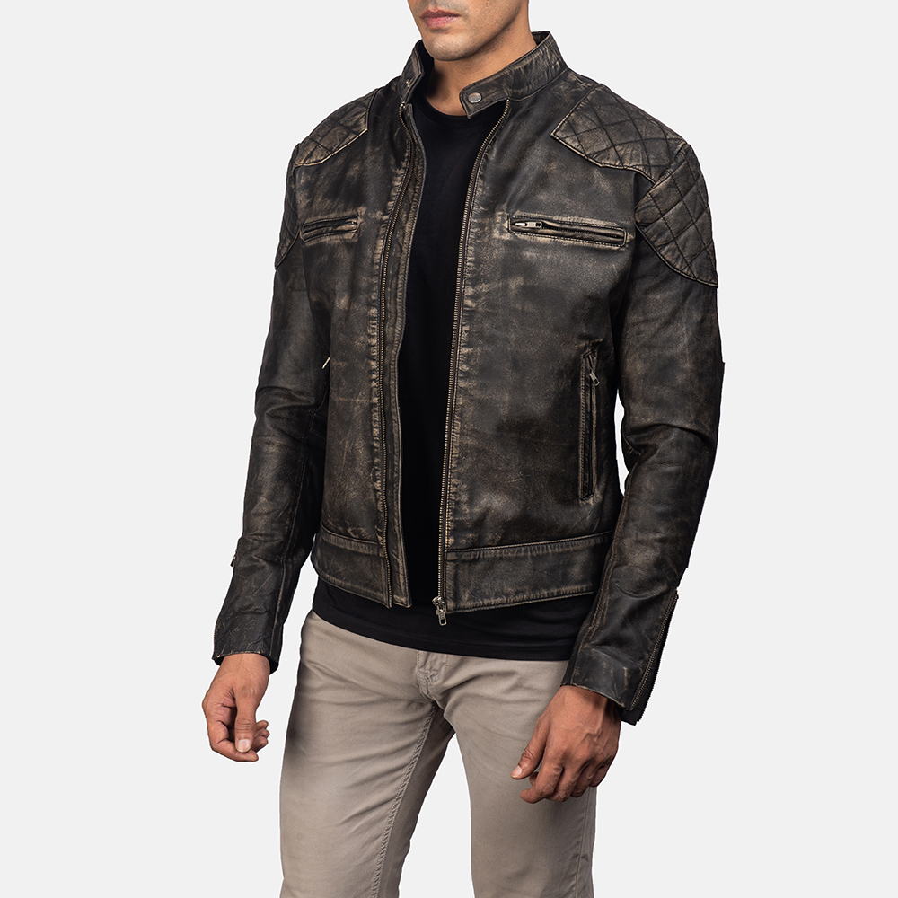 Men'sGatsby Distressed Brown Leather Jacket 2