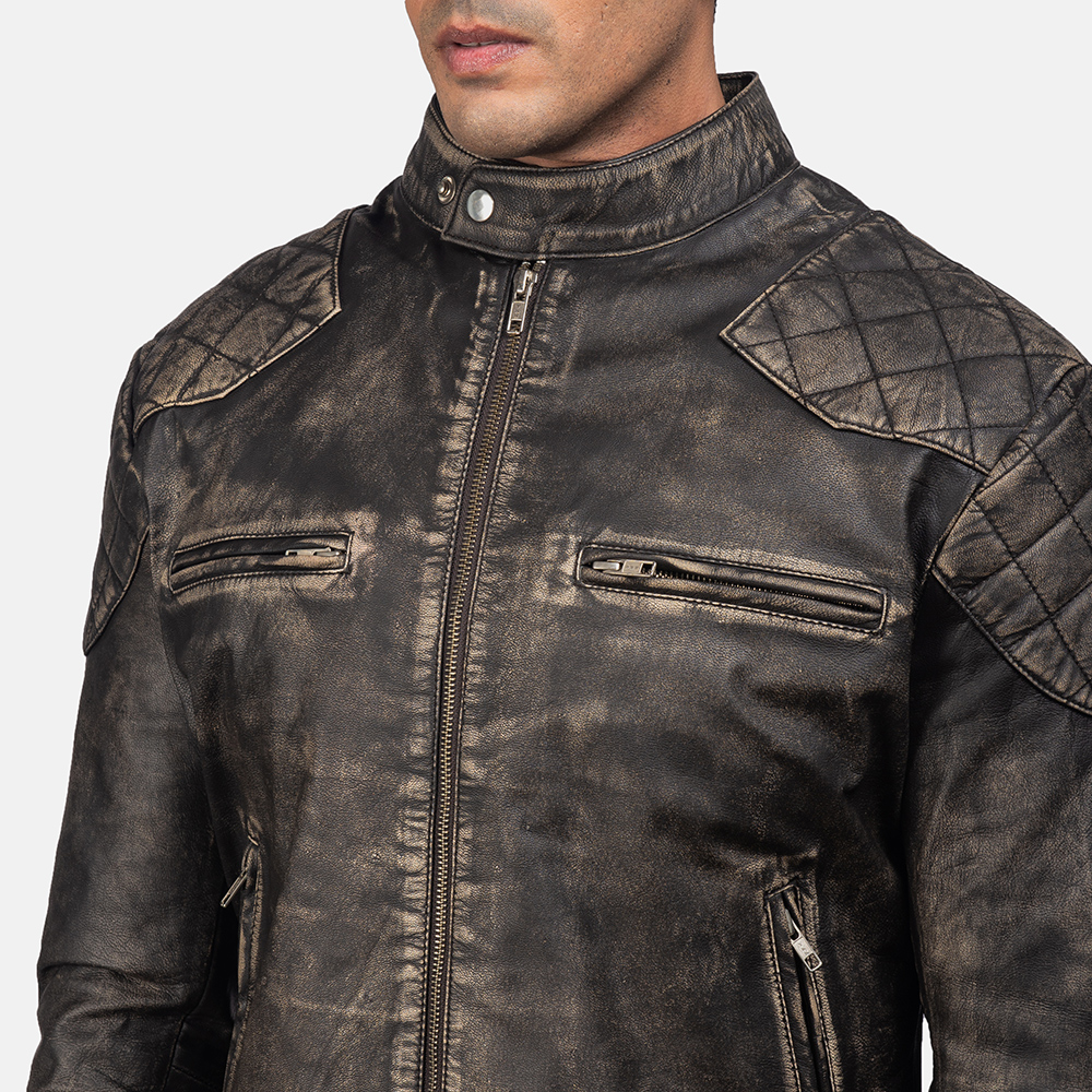 Men'sGatsby Distressed Brown Leather Jacket 6