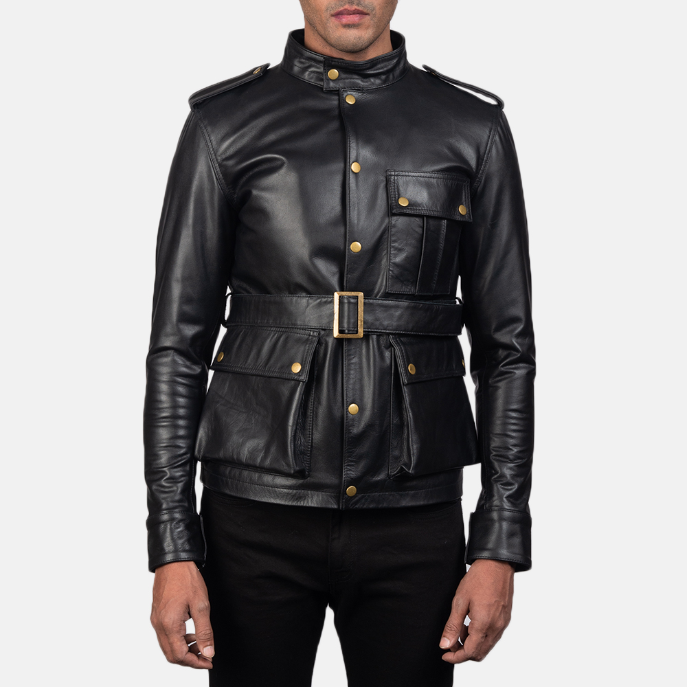 Mens Germain Black Leather Jacket 2