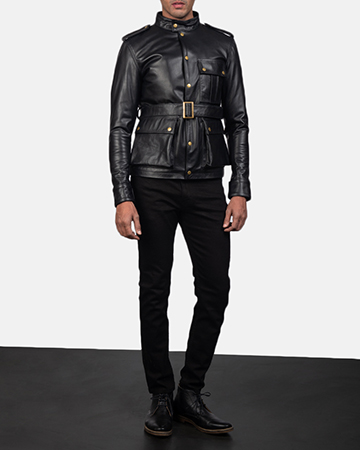 Mens Germain Black Leather Jacket 1