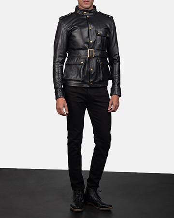 Mens Germain Black Leather Jacket 1
