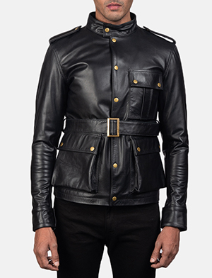 Mens Germain Black Leather Jacket