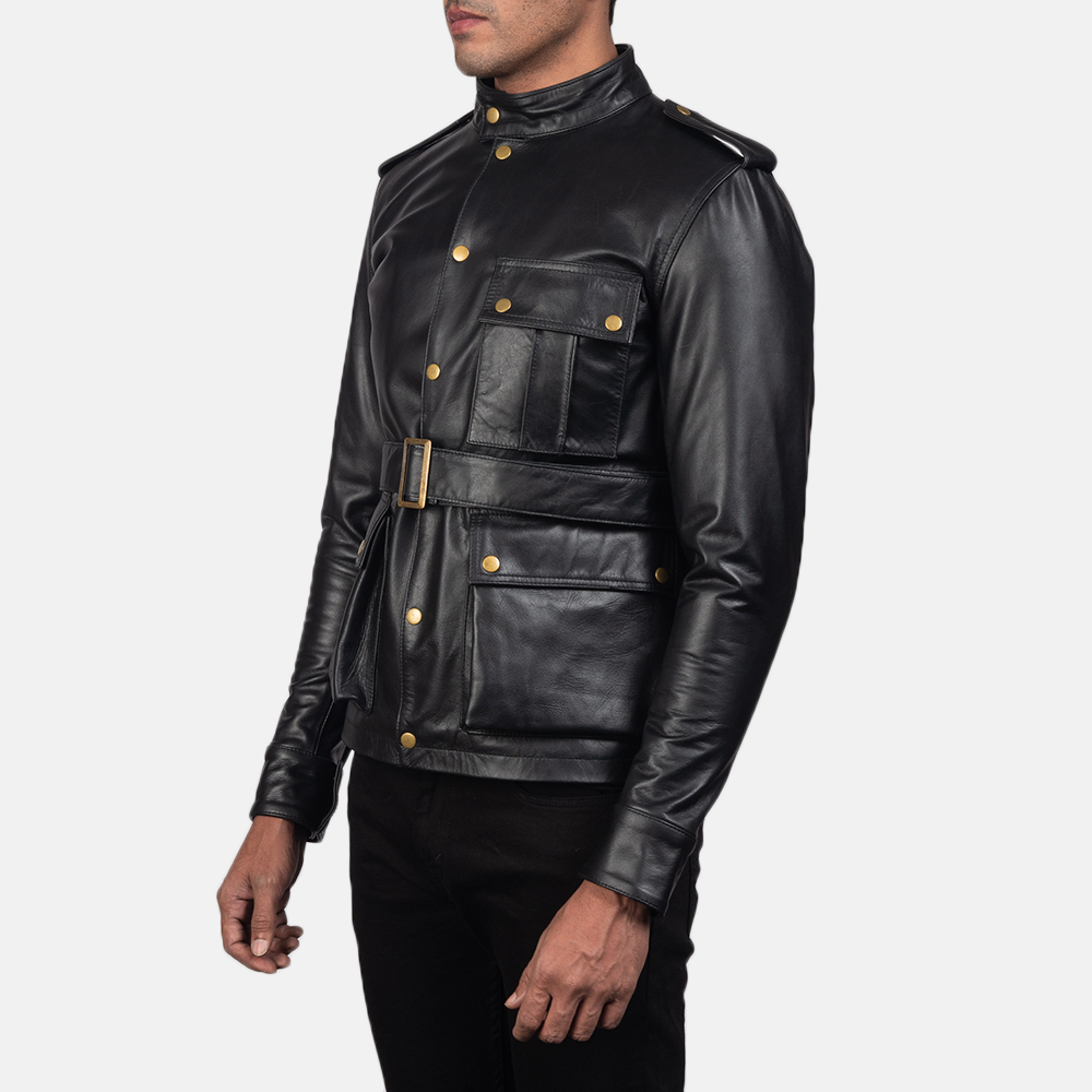 Mens Germain Black Leather Jacket 3
