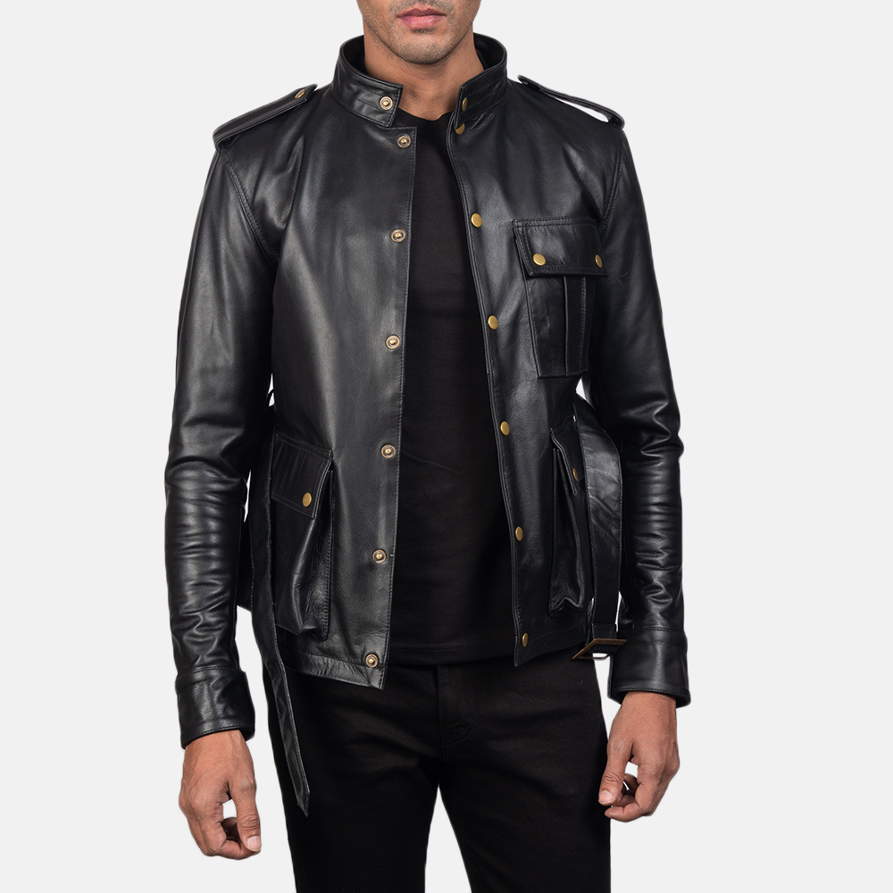 Mens Germain Black Leather Jacket 4