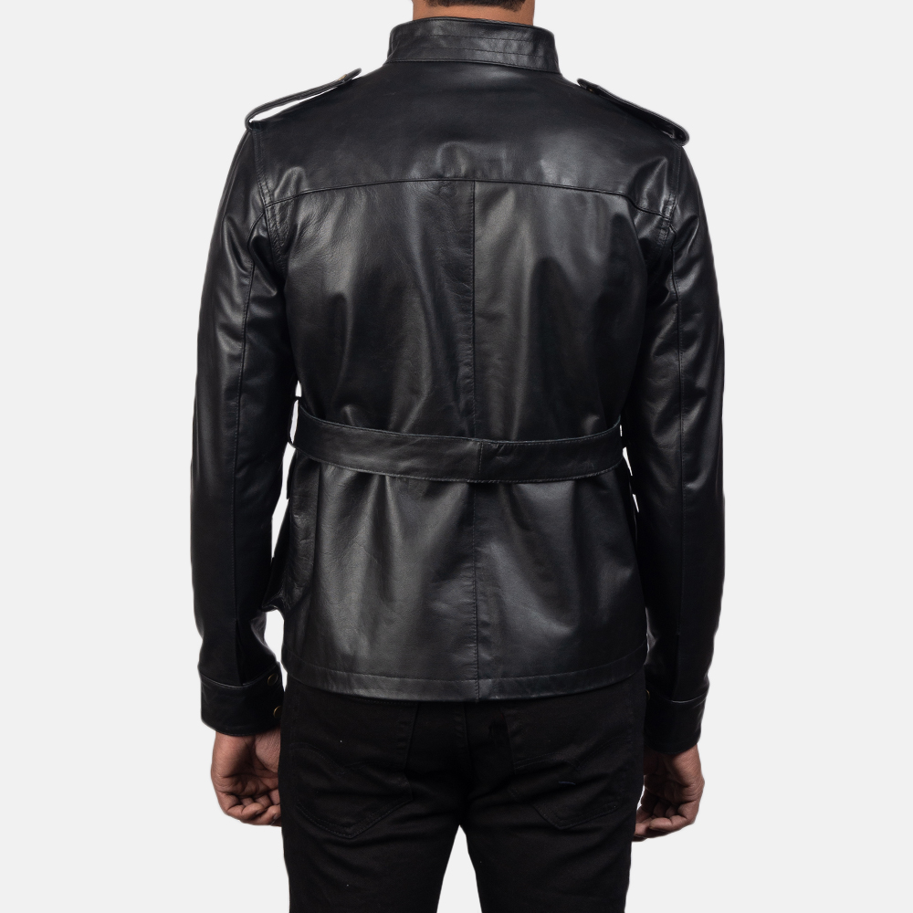 Mens Germain Black Leather Jacket 5