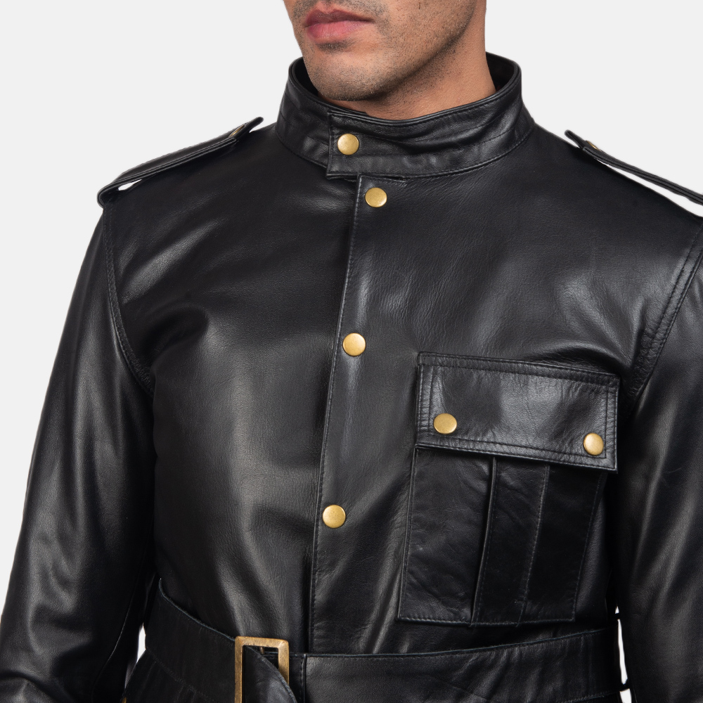 Mens Germain Black Leather Jacket 6