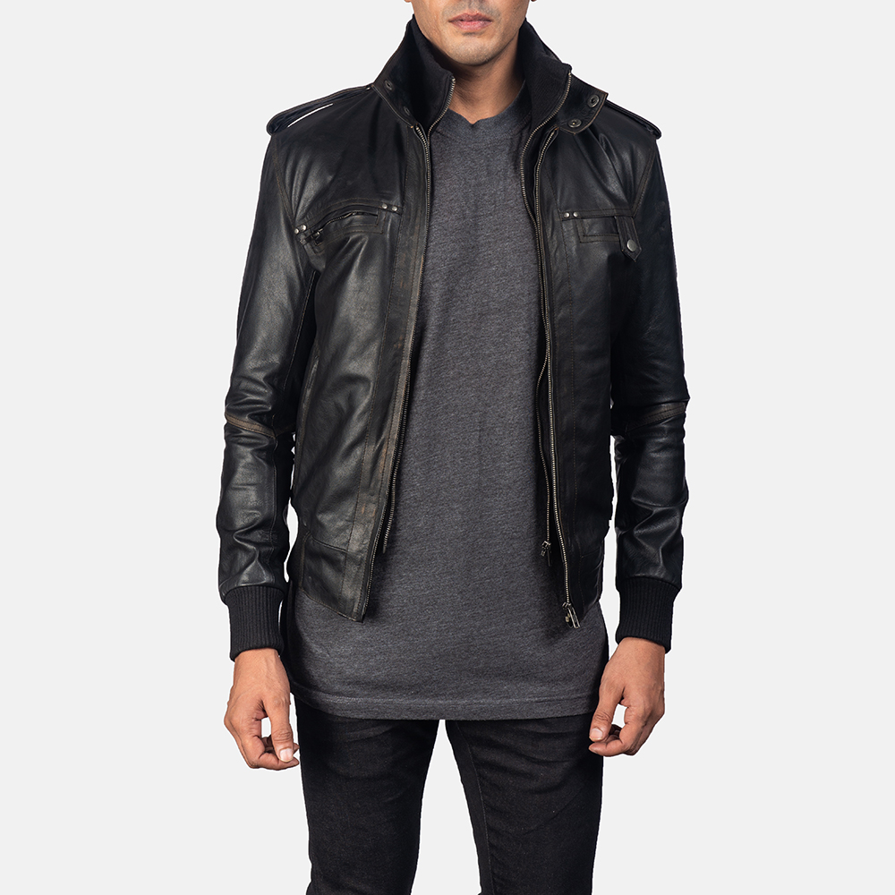 Glen Street Black Leather Bomber Jacket